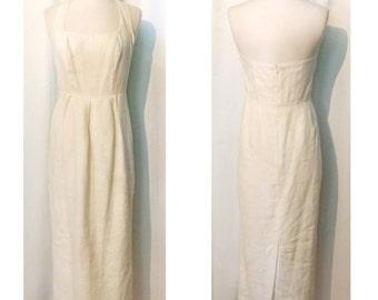 Laura Ashley 100% Linen Maxi Halter Dress