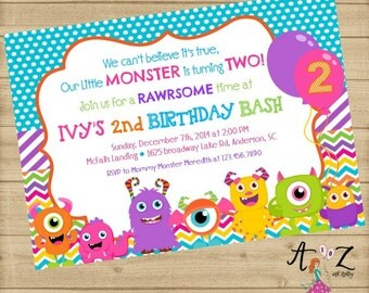 Monster Birthday Invitation - Little Monster Party Invitations - Monster Bash - Boy or Girl Digitial Printable ANY AGE