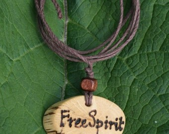 Free Spirit Necklace, Free Spirit Jewelry, Oak Pendant, Handmade Jewelry, Quote Necklace, Word Jewelry, Natural Jewelry, Organic Jewelry