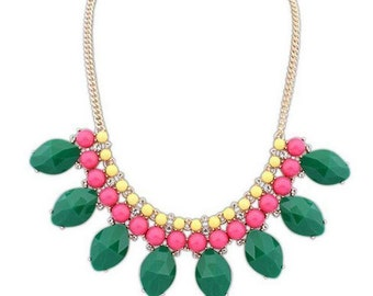 Strawberry Kiwi Bib Statement Necklace