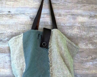 Jute bag and dark green cotton ...