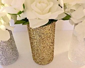 Set of 5 - Gold Glitter Vase, Wedding, Centerpiece, Bridal Shower, Engagement Party, Vase, Silver