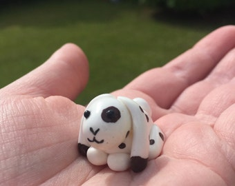 Brown and white polymer clay bunny rabbit charm/pendant