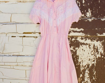 Pink w/lace and fringe western vintage dress 1980's By Haroleen Size L