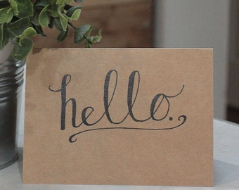"""Hand Scripted """"hello"""" Card"""