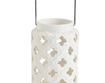 Quatrefoil Ceramic Candle Lantern