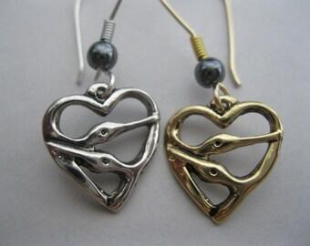 Two Bird Heart Earrings