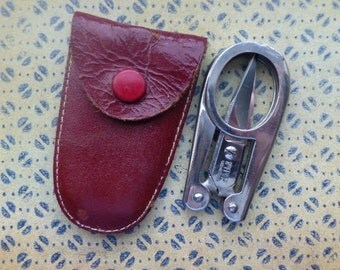 Vintage Folding Scissors Made in Germany by Hoffritz Travel Scissors in Leather Case