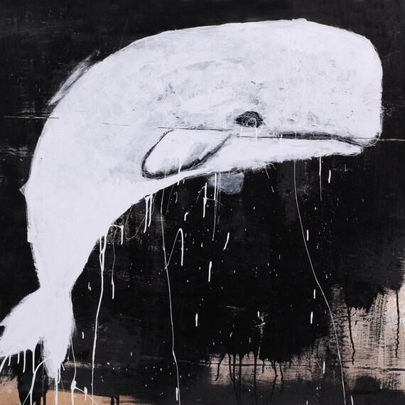 White Whale Wall Decor : Whale print art black and white nursery wall