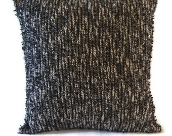 Black textured pillow cover / handmade black and white accent pillow cover