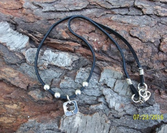 """Hadmade Leather """"Lucky Charm"""" Choker Necklace"""