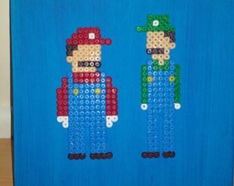 Mario and Luigi 8 bit Pixel Art Canvas