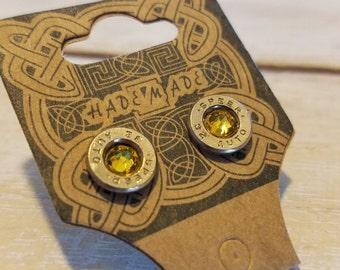 Bullet earring brass jewelry Swarovski yellow 32 auto