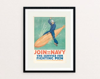 Join the Navy!, Navy, Vintage WWI, Recruiting Poster, NAVY Recruiting Poster, Enlist, Army, Military