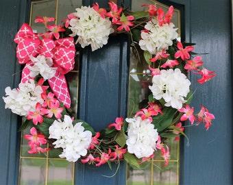 Spring Wreaths, Spring Wreath, Wreath for Spring, Wreaths for Spring, Pink Wreath, Pink Wreaths, White Wreath, White Wreaths, Wreath in Pink