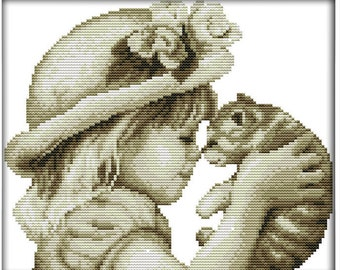 Lovely Girl and Cat Cross Stitch Kit