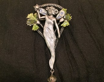Mucha-inspired art nouveau fairy brooch