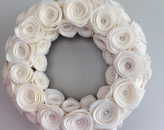 Cream felt rose wreath