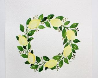 """Lemon Wreath 11x14"""" Original Watercolor"""