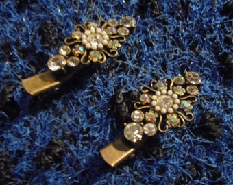Hair Barrettes / 90s / / Vintage/dramatic/gold with Rhinestones