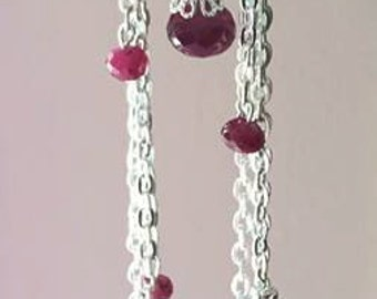 Natural Ruby Chain Necklace July Birthstone