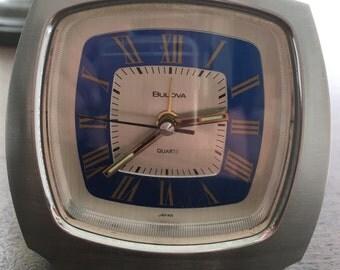 Bulova Modern Brushed Silver Chrome and Blue Clock