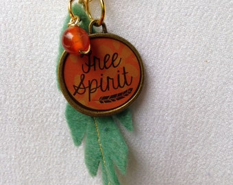 Fire Agate Free Spirit Feather and Charm Necklace