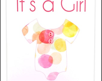 It's a Girl Greeting Card - Pink Onesie #LG-187