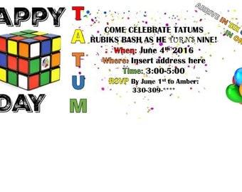 Rubiks cube birthday invitation