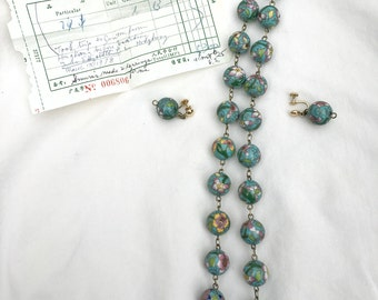 Vintage Cloisonné Bead Necklace and Earrings