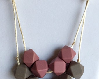The Consuelo- Blush, Cappuccino, Navajo, Oatmeal                                               Teething Necklace/Nursing Necklace