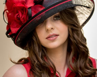 Black & Red Feathered Flower Hat