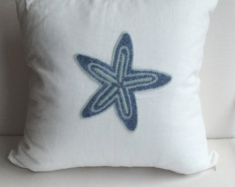 Coastal Nautical Starfish Decorative Pillow Cover, White & Blue, Hand Made, 20x20, insert included