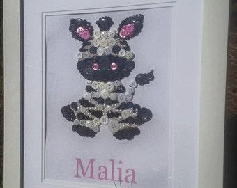 Zali Zebra, cute buttoned Zebra, personalised and made to order.