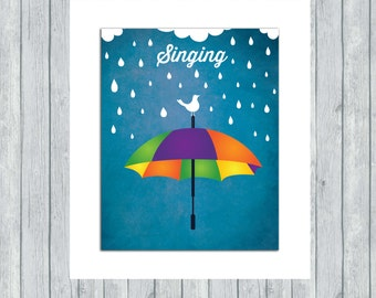 Singing in the Rain - Whimsical Baby Nursery Wall Art Illustration