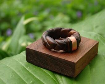 Hand carved Walnut Wedding/Engagement Ring