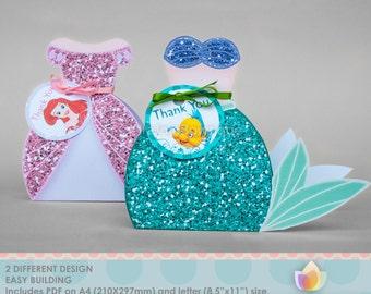 Princess Mermaid Favor Box Set, Gift box, Goodie box