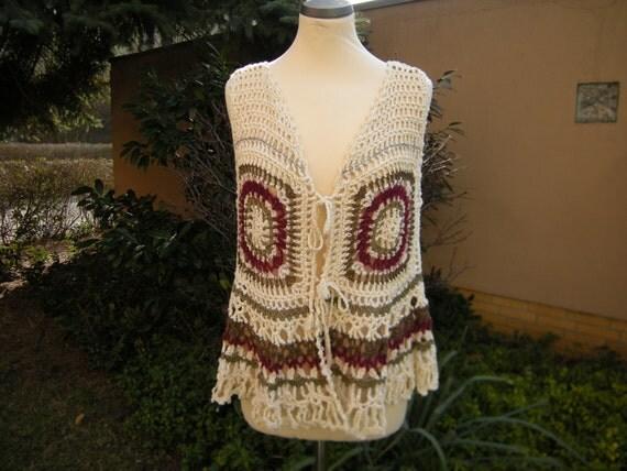 Vest vest hippy boho crochet Baroque size 38 / 40