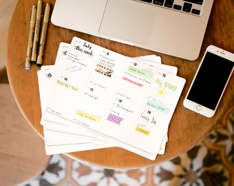 Weekly desk planner set with 100 stickers – This Week Planner. Little magnet isincluded. Tag with your name on the package.