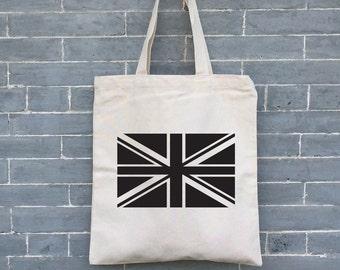 Union Jack Bag, Eco friendly Bag, Eco Tote, Canvas Tote Bag, Organic Tote Bag, Market Bag, s