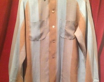 1950's Rayon Shirt / M / Make - B V D.  TIERRA DEL SOL made in Canada.