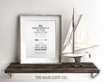 Henry David Thoreau quote printable art print Go confidently in the direction of your dreams Nursery quote print Gray wall art Man cave art