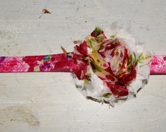 Red Floral Stationary Head Band