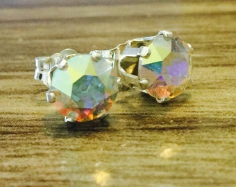 Glass Swarovski Crystal Sterling Silver Earrings