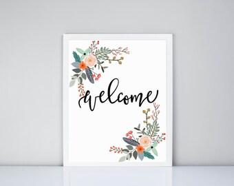 Welcome Floral Printable, Digital Print