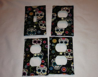 Skull print outlet light switch covers