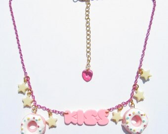 DONUT LOVE Necklace - Doughnut, kawaii, sweet lolita, fairy kei, pink, yellow, star, harajuku, kiss, food, word, decora, cute, icing