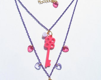 KEY 2 UR HEART Necklace - Kawaii, fairy kei, pink, purple, lock, harajuku, decora, cute