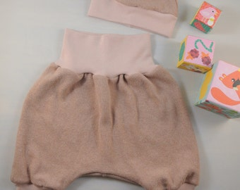 baby gift set 0-3 month, baby pants, baby hat, baby harem pants, baby beanie, dusty pink, girl, newborn, baby shower, winter, fall
