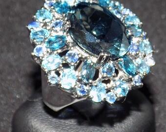 Blue Topaz (London Blue) Silver Ring